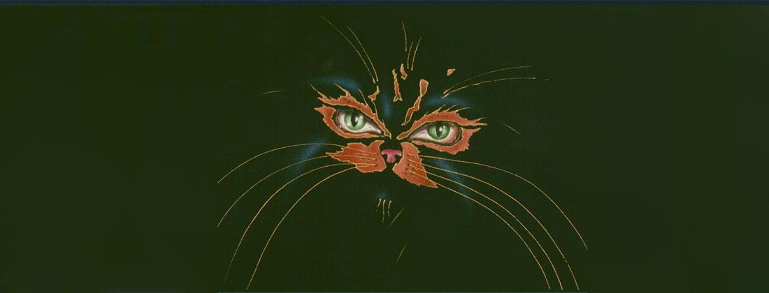 Cats face fabric stencil art design