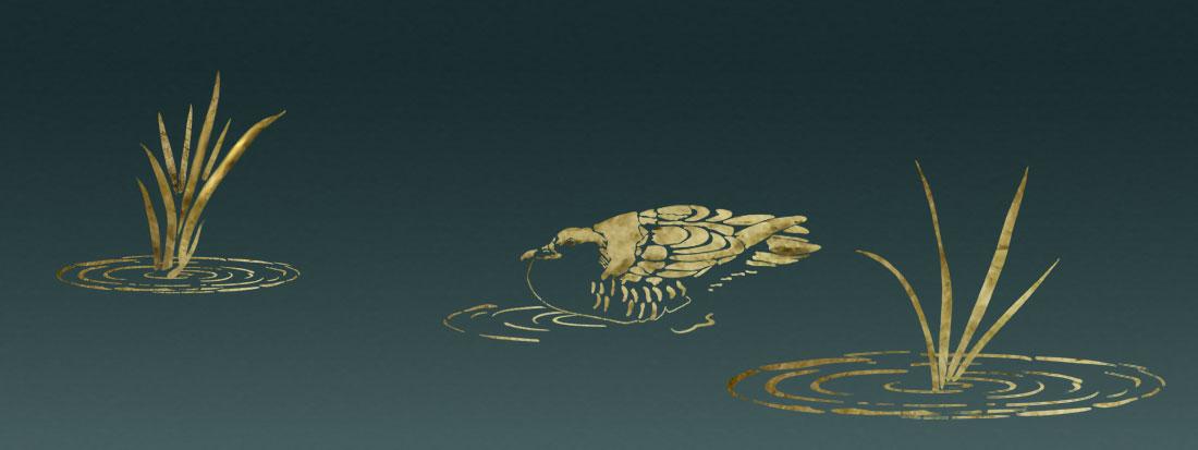 Duck pond stencil art design