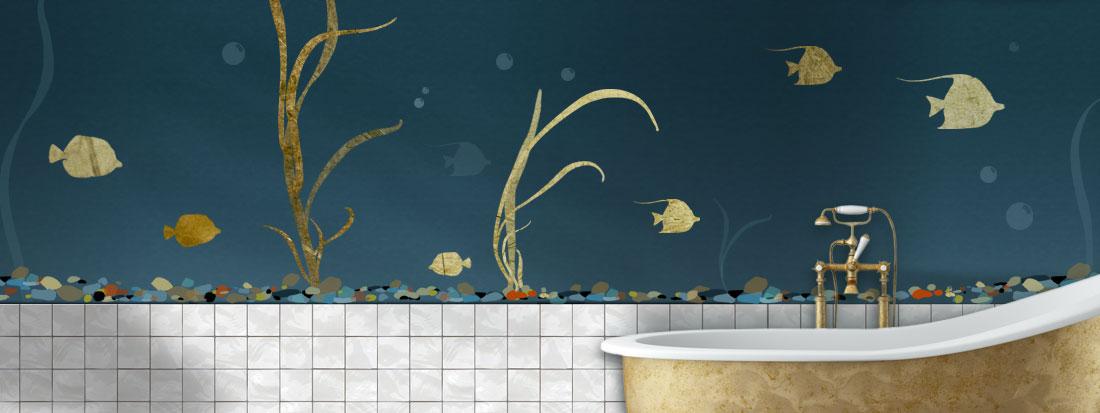 Sea life stencil art design