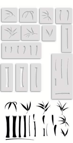 Large bamboo wall stencils templates