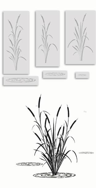 Cattail stencil templates