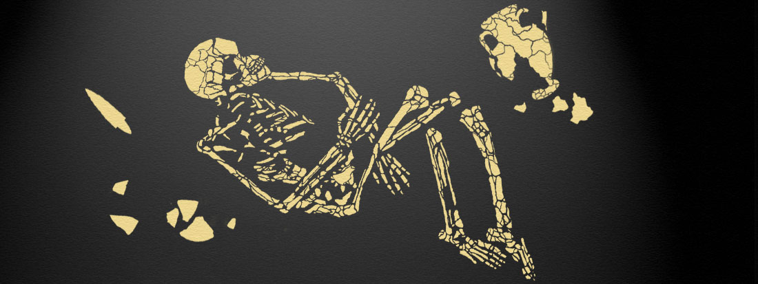 Fossil Skeleton Stencil burial theme