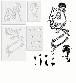 Fossil Skeleton Stencil templates